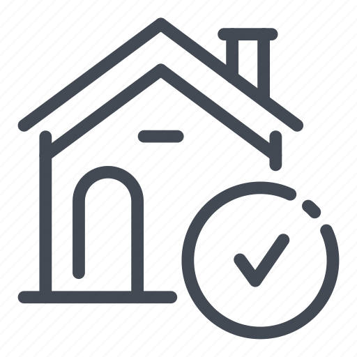check, done, home, house, ok, real estate, tick icon