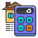 calculate, calculator, estate, house, real icon