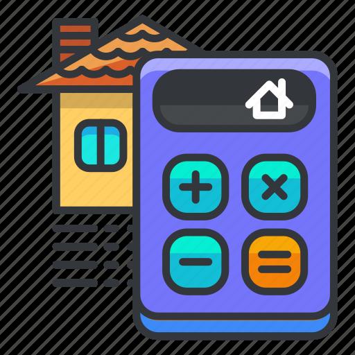 calculate, calculator, estate, house, real icon