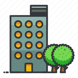 apartment, building, estate, real, tree icon