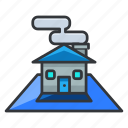 blue, estate, house, plan, real icon