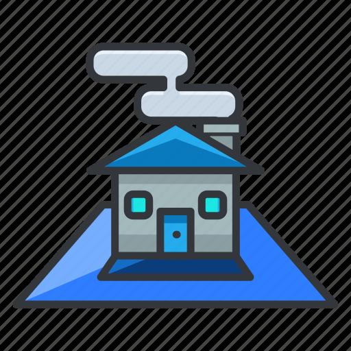 blue, estate, house, plan, real icon