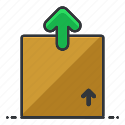 arrow, box, estate, package, real, up icon