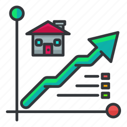 arrow, chart, estate, house, line, real icon