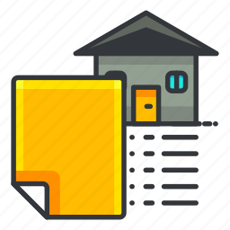document, estate, house, paper, real icon