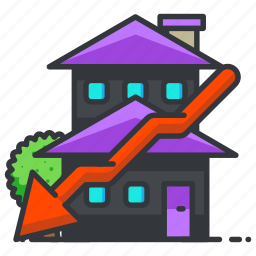 downwards, estate, house, property, real icon