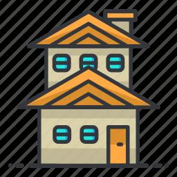 duplex, estate, house, property, real icon