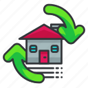 estate, flip, house, property, real icon