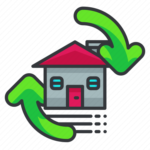 estate, flip, house, property, real icon