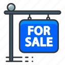 estate, for, real, sale, sign icon