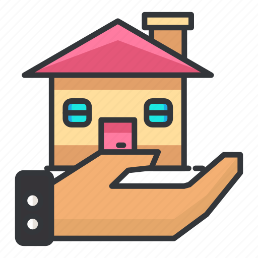 estate, hand, house, property, real icon