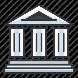 bank, building, estate, law, real icon