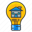 estate, home, idea, light, lightbulb, real icon