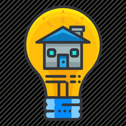 estate, home, idea, light, lightbulb, real icon