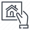 construction, estate, hand, plan, property, real icon