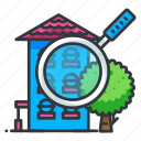 apartment, estate, real, search icon
