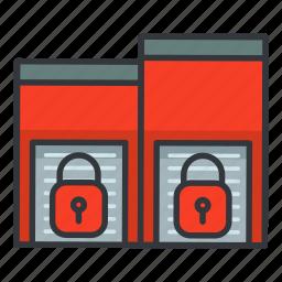 estate, lock, lockers, real, storage icon