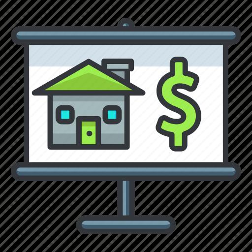 dollar, estate, finance, money, presentation, real icon