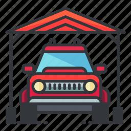 estate, garage, outdoor, real icon