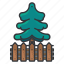 estate, fence, pine, real, tree icon