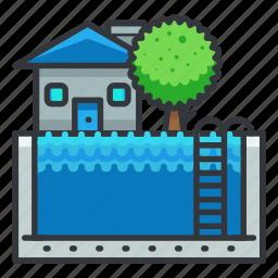 estate, house, pool, real icon