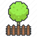 estate, fence, real, round, tree icon