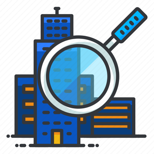 building, estate, real, search icon