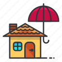 estate, house, real, umbrella icon