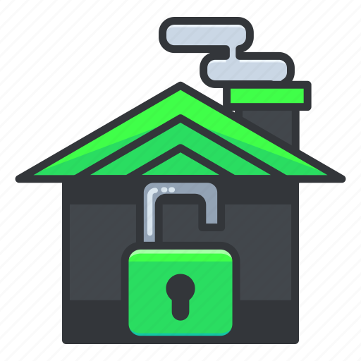 estate, home, house, real, security, unlocked icon