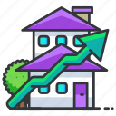 estate, house, real, upwards icon