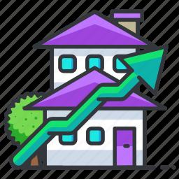 estate, house, real, upwards icon