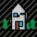 architecture, building, estate icon