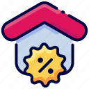 bukeicon, discount, estate, house, percent, real icon