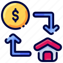 bukeicon, buy, dollar, exchange, house, sell icon