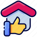 bukeicon, feedback, good, house, like, thumb icon