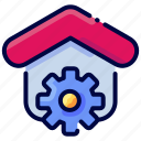 bukeicon, estate, gear, home, house, real, settings icon