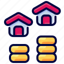 bukeicon, dollar, estate, growth, home, house icon