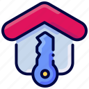 bukeicon, estate, house, key, label, real, secure icon