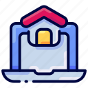 bukeicon, computer, home, house, laptop, marketplace, realestate icon