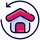 back, bukeicon, estate, house, real, return icon