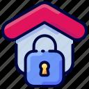 bukeicon, estate, house, lock, property, real, security icon