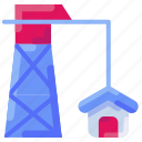 building, construction, crane, estate, house, real, tower icon