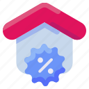 bukeicon, discount, estate, house, percent, real