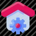bukeicon, estate, gear, home, house, real, settings