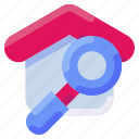 bukeicon, estate, find, home, house, real, search icon