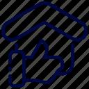 bukeicon, feedback, good, house, like, thumb icon