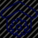 bukeicon, estate, gear, home, house, real, settings icon