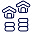 bukeicon, dollar, estate, growth, home, house icon