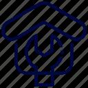 bukeicon, construction, estate, real, renovation, service, settings icon