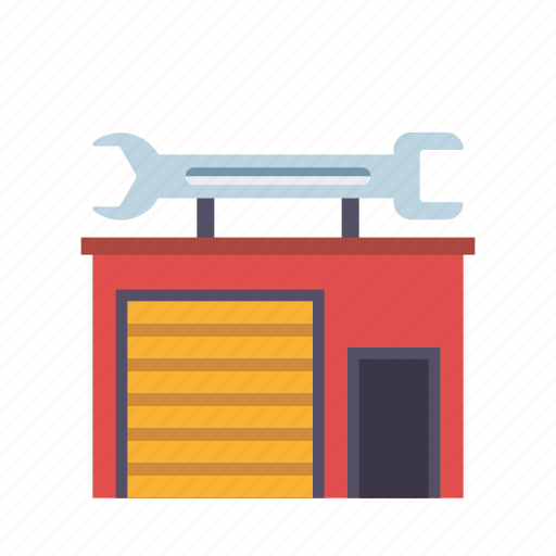 building, business, garage, real estate, realty, workshop, wrench icon